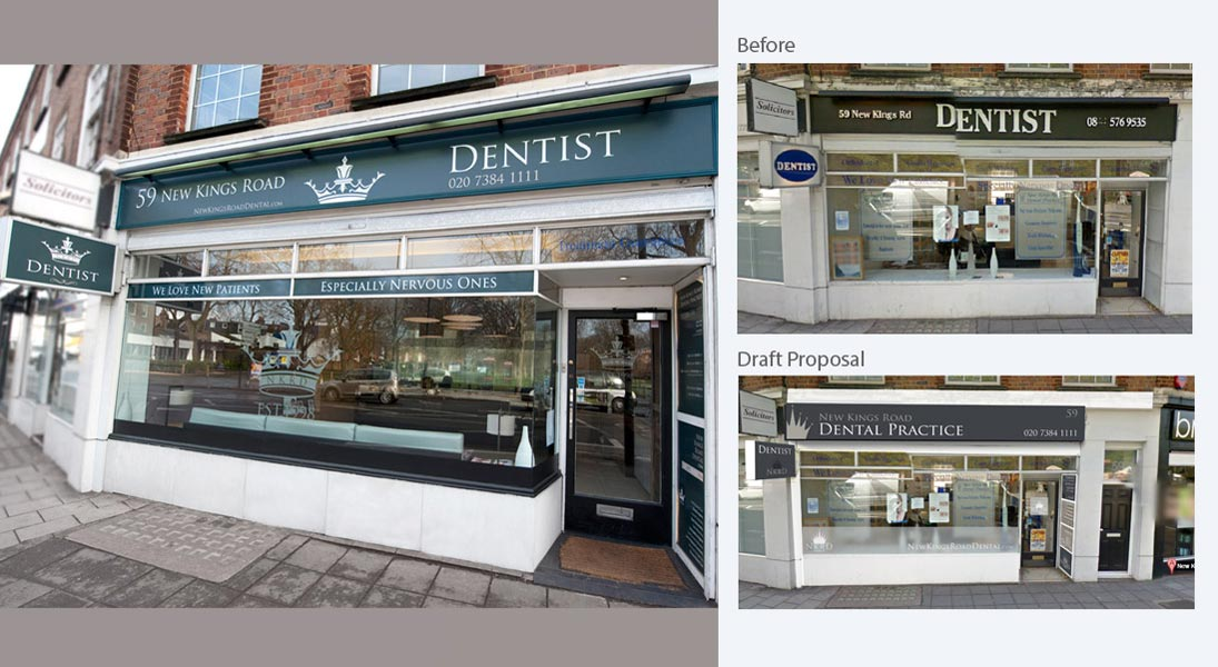 Signage Design - Dentist in New Kings Road - London